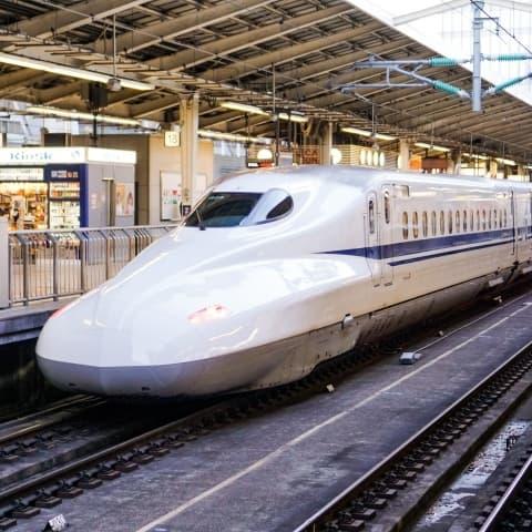 Japanese Bullet Train At Shinkansen Station